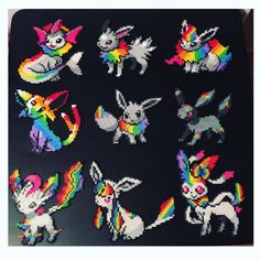 And here is ALL 9 EEVEELUTIONS! I loved doing each and every one of these! Thank you guys for all of the positivity on these! It means a lot to me! Hope I can keep making more impressive rainbow Pokémon ? Pokemon Perler Beads, Diy Perler Beads, Perler Bead Art, Perler Bead Templates, Pearler Bead Patterns, Perler Patterns, Pokemon Original, Pokemon Cross Stitch, Modele Pixel Art