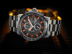 Forged out of titanium, bright orange accents put a modern twist on a classic to create our new Nighthawk. Seiko Watches, Citizen Watches, Titanium Watches, Citizen Eco, Watch Companies, Watches For Men, Quartz, Mens Fashion, Everyday Carry