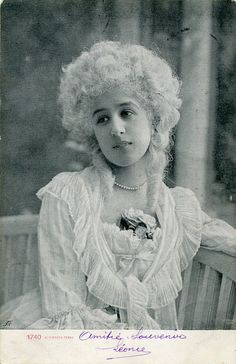 Vintage French hand tinted photo postcard - Actress Mitzi Dalti with wig - Victorian Paper Ephemera