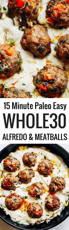 Best healthy paleo and creamy spaghetti squash noodles with italian meatballs and alfredo sauce! A delicious healthy paleo, dairy free, and recipe that can be made a head and frozen. Easy dinner recipes paleo diet with dairy Whole30 Dinner Recipes, Paleo Dinner, Paleo Meals, Courge Spaghetti, Creamy Spaghetti, Easy Whole 30 Recipes, Paleo Whole 30, Easy Recipes, Paleo Dairy