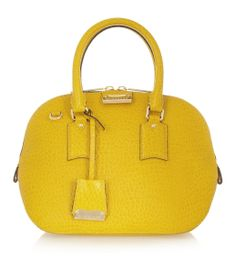 Burberry Croc-effect Leather Bowling Bag #brightyellow #crocprint #bagobsession #fashion