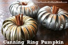 With most of the canning done, and extra canning rings lying around, I thought I would make a canning ring pumpkin for the table.It's cute, festive, and takes about 2 minutes—my kind of craft. You'll need: Canning rings {all the same size} String...