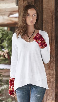 Latitudes Tee - charming hi-lo cotton knit tee.