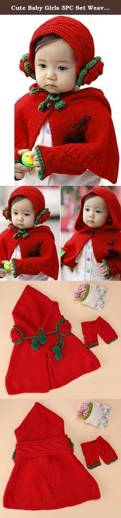 Cute Baby Girls 3PC Set Weave Knitting Hat Cap Cape Coat with Scarf Gloves. 100% Brand New. Material: Knitting Color: Red Pattern: Floral Cape Length:42cm Scarf Length:73cm Style: Cute Sex: Girl Suitable for 6 months to 4 Years old It's fashionable, retro, creative, is very useful accessory brighten up your look, also as a gift. Note: Due to the difference between different monitors, the picture may not reflect the actual color of the item. We guarantee the style is the same as shown in…
