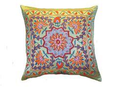 Handmade Suzani Silk Pillow Cover EMP703 Suzani by BlackFigDesigns