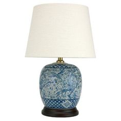 Oriental Furniture Classic Blue and White Porcelain Jar Table Lamp - JCO-X9920