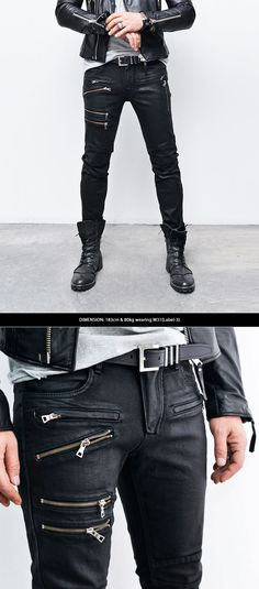 Coated Multi Zipper Black Skinny Biker Jeans