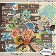 Quality DigiScrap Freebies: From The Heart full kit freebie from the Designers of ScrapMatters