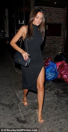 Leggy Michelle Keegan in black thigh-split dress on 'tipsy' date night with Mark Wright | Daily Mail Online #blackdress #michellekeegan