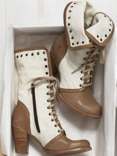 White and tan boots