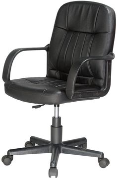 AmazonSmile: Comfort Products 60-5607M Mid-Back Leather Office Chair, Black: Kitchen & Dining
