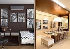 Quadros em composição sempre valorizam as paredes. As fotos em preto decoram de forma elegante e valorizam tanto os fundos claros como os escuros. Na primeira foto, projeto Beto Galvez e Nórea De Vitto / Na segunda foto, projeto Camila Klein.