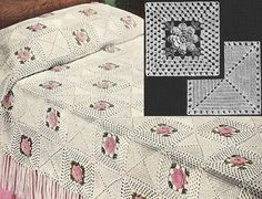 Directions to crochet this pretty Bedspread. Each motif measures 6 inches square. Directions for Single and Double Size Spread.  This listing is for the pattern only, not for the finished item.  Please note this is a digital file to print yourself, you will not receive any printed products in the mail.  The pattern is reproduced: scanned, pictures restored, text re-typed for a better reading and saved in PDF format, from my collection of antique books and magazines from the 1800s to the…