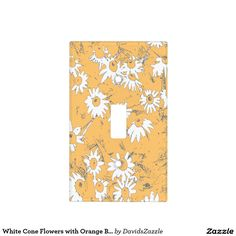 White Cone Flowers with Orange Background Light Switch Cover  Available on more products, type in the name of this design in the search bar on my products page to view them all!  #cone #daisy #shasta #calendula #orange #white #blue #gray #grey #floral #flower #pattern #print #all #over #abstract #plant #nature #earth #life #style #lifestyle #chic #modern #contemporary #home #decor