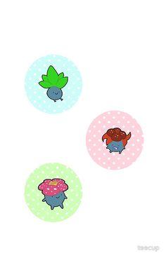 Oddish, Gloom, and Vileplume Pokemon stickers!