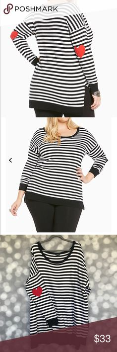 Valentine's Day Torrid Stripe Sweater Heart Sleeve ♥️♥️Wear your heart on your sleeve ♥️♥️ Valentine's Day Torrid Stripe Sweater Heart Sleeve Elbow Patch Black/White Stripes Size 3 Side Slit 100% Cotton. Soft.  Excellent Condition. Only Worn Once and Hung Dry. See Pictures for Torrid Sizing torrid Sweaters Crew & Scoop Necks