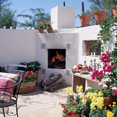 Southwestern-Style Outdoor Fireplace