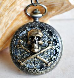 Skull and Crossbones Mechanical Pocket Watch