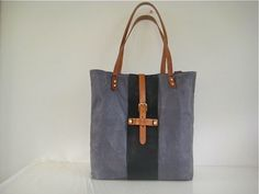 Waxed Canvas Tote Bag Leather Straps Weather Resistant Grey Navy.