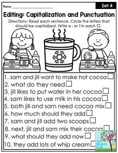 Teach Your Child to Read Editing: Capitalization and Punctuation. Fix the sentences by capitalizing the correct words and adding punctuation to the end. Perfect for grade! Give Your Child a Head Start, and.Pave the Way for a Bright, Successful Future. Punctuation Worksheets, Grammar And Punctuation, Teaching Grammar, Teaching Language Arts, Teaching Writing, Writing Activities, Teaching Ideas, Subject And Predicate Worksheets, Nouns Worksheet