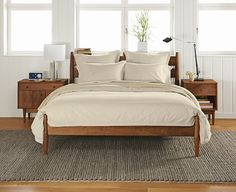 Grove Bed - Beds - Bedroom - Room & Board - this one is lovely too, strong with steal slats, with the mid century details we like