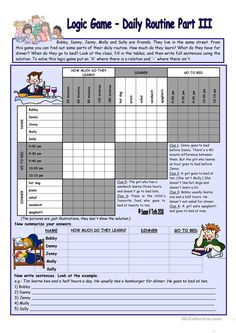 Logic game (21st) - Daily routine Part III *** with key *** for elementary ss *** fully editable * reuploaded