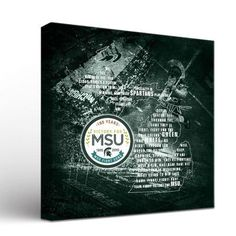 Victory Tailgate NCAA Michigan State Spartans Fight Song Anniversary Design Framed Graphic Art on Wrapped Canvas Size: Fight Song, Michigan State Spartans, Canvas Size, Victorious, Wrapped Canvas, Graphic Art, Anniversary, Songs, Frame