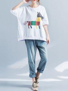 5ae30e63eebab Casual Printed Half Sleeves Baggy Shirts for Women  BlousesShirts  PlusSize  Baggy Shirts
