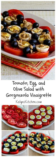 If you need an easy pot-luck dish for a summer-into-fall party, this Tomato, Egg, and Olive Salad with Gorgonzola Vinaigrette is perfect. Make it NOW while tomatoes are so good! [from KalynsKitchen.com] #LowCarb #Tomato Salad