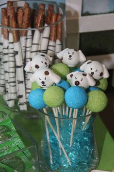 Puppy birthday party cake pops! See more party planning ideas at CatchMyParty.com!