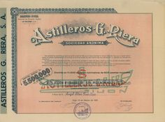 Astilleros G. Riera Soc. Anon. - #scripomarket #scriposigns #scripofilia #scripophily #finanza #finance #collezionismo #collectibles #arte #art #scripoart #scripoarte #borsa #stock #azioni #bonds #obbligazioni