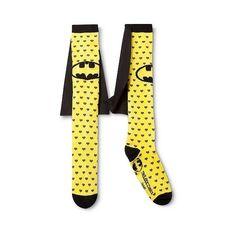 Batman Women's Caped Knee High Sock ($9.99) ❤ liked on Polyvore featuring intimates, hosiery, socks, apparel, casual socks, legwear, knee high socks, heart socks, knee tube socks and rock socks