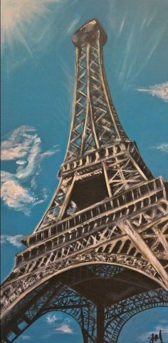 Looking up to the Eiffel Tower - acrylics on canvas for sale - buy now #paris #eiffeltower #for sale www.jomilneart.com