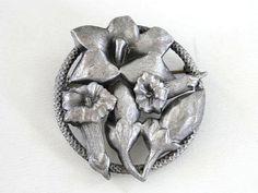 Tubular Flower Pin Silver Beautiful by victoriajamesdesigns, $25.00