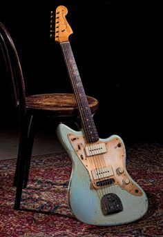 Old blue Fender guitar