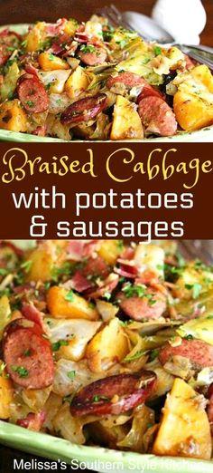Cabbage And Smoked Sausage, Kielbasa And Cabbage, Smoked Sausage Recipes, Cabbage And Potatoes, Braised Cabbage, Smoked Sausages, Pork Recipes, Cooking Recipes, Healthy Recipes