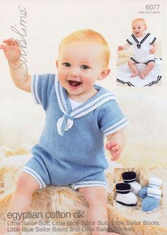 Sailor Suits, Blanket and Booties in Sublime Egyptian Cotton DK - 6077 - Boys - For - Patterns