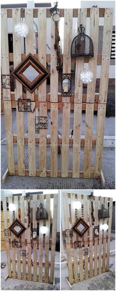 wooden pallets partition for party decoration Wooden Pallet Crafts, Wood Pallet Furniture, Home Decor Furniture, Wooden Diy, Wood Pallets, Furniture Outlet, Pallet Partition, Sofa Area Externa, Furniture Store Display