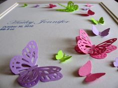 Custom 3D Butterfy Arc. Birth Keepsake. Wedding. Anniversary. Memorial. 8x10. YOU Choose 3 Colours. Made to Order