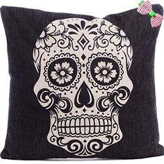 Caryko Home Decor Cotton Linen Square Pillowcase Skull Skeleton Printed Throw Pillow Cover (Skull-White) Caryko http://www.amazon.com/dp/B00XRQQYY0/ref=cm_sw_r_pi_dp_G8awvb02RQQHY