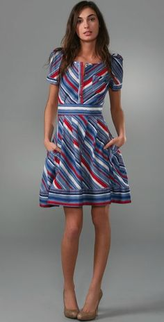 Marc by Marc Jacobs Flutter Stripe Dress: I want to wear this for the 4th of July this year.