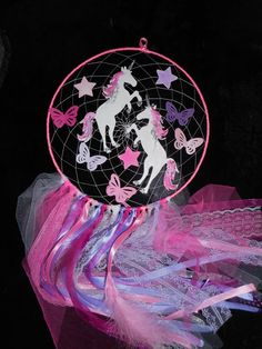 Glow in the dark unicorn dreamcatcher pink purple white
