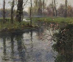 Fritz Thaulow A Stream in Springtime Oil On Canvas, Canvas Art, Canvas Prints, Oil Painting Pictures, Spring Landscape, European Paintings, Skagen, Landscape Paintings, Landscapes