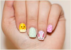 Easter Bunny and Chick Nail Art