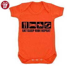 Funny Eat Sleep Ride Repeat Design Baby Bodysuit Orange with Black Print (*Amazon Partner-Link)