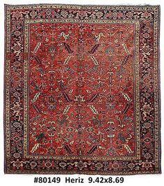 Handmade Rug 9x9 Persian Heriz Haris Carpet