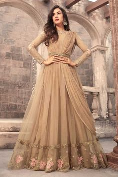 Beige Net Anarkali Suit With Dupatta - DMV15372