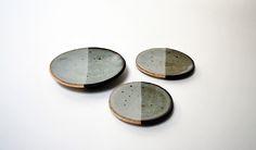 Graduated Set of 3 Black & White Dishes- Stoneware