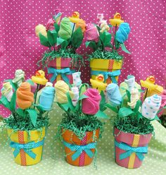 5 Baby Blossoms for Baby Shower Centerpiece Decorations. $140.00, via Etsy.