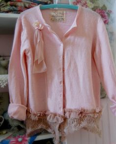 Pink Sweater Wool Womens Clothing Shabby Chic by OfLinenandLace, $48.50